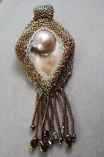 VINTAGE  HAND MADE MOTHER OF PEARL. GLASS SEEDS BEADED  BROOCH PENDANT/ TASSELS