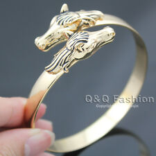 Vintage Gold Western Double Horse Head Equestrian Charm Bracelet Bangle Cuff