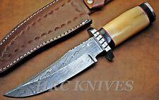 "DA8 ~ 10"" CUSTOM HANDMADE HRC DAMASCUS BOWIE HUNTING KNIFE W/ BONE - USA"