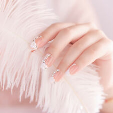Bride Wedding False Artificial Fake French White Stud Finger Nails Tips
