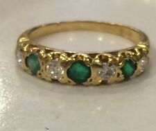 Scrap Repair Emerald Genuine Diamond Gold Eternity Ring Size J 2.5 Grams