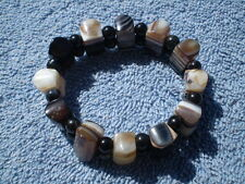 Square Botswana Agate Black/White Striped Bead Stretch Style Bracelet