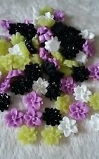 20pcs x Mixed Flat Back flower cabochon10mm. Nice for Halloween.* UK SELLER *