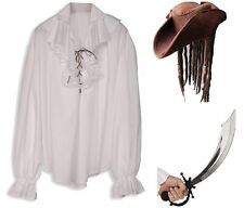 Men's Pirate Gothic Medieval Musketeer White Shirt, Hat, Sword Fancy Dress Med