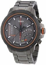 Timex Intelligent Quartz Orange Gunmetal Steel Linear Chronograph Watch T2P273