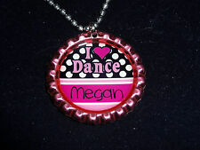 I Love Dance pink Personalized ANY NAME bottle cap necklace - * Free Chain *