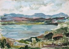 Elspeth Buchanan (1915-2011) Mountainous landscape and lake. Oil on paper.