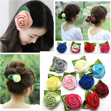 Fashion Ladies Rose Flower Cloth Hair Clip Flower Brooches Wedding Party Pink