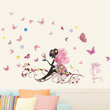 Removable Flower Fairy Butterfly Wall Stickers PVC Decal Home Girls Room Decor