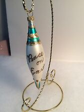 "Teardrop Glass Ornament ""Peace On Earth"" Hand Blown Dove 6"""