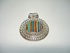 "AB Rainbow Calsilica Solitaire .925 Silver Pendant Necklace 1.25"" Multi-Color"