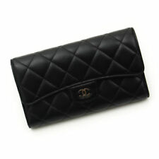 Auth CHANEL metalasse Black Lamb Skin Quilted Long Bifold  Wallet