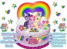My Little Pony Rainbow Hearts Stars Happy Birthday Wafer Stand up Cake Toppers