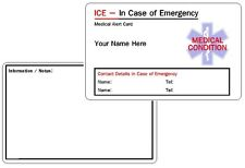 Medical Condition ICE - In Case of Emergency - Medical Alert ID Card - Custom