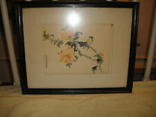 Vintage Chinese Drawing Of Birds In Tree-Marked-Framed-Flower-Lovely Chinese Art