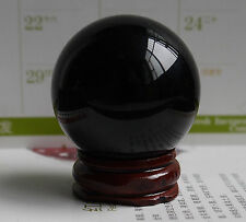 40MM +Stand Natural Black Sphere Large Crystal Ball Healing Stone~