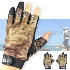 Waterproof Fishing Gloves Hunting 3 Cut Finger Anti-Slip Mitts Camo