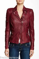 NWT $620 MUUBAA LYRA RED PORT OXBLOOD LEATHER SKINNY BIKER JACKET US 6 S UK 10