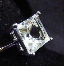 Sterling 925 Silver Filled Size 5 Ring 10*10mm White Sapphire Gemstone