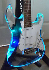 Custom Acrylic Lucite Clear Electric Guitar With LED Light See Thru Glass Strat