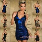 Sexy Mini Leather Look Long Top Party Clubbing Halterneck Cocktail Metalic Dress