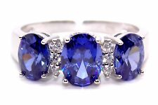 Sterling Silver Tanzanite And Diamond 2.45ct Trilogy Ring (925)