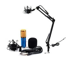 Dynamic Condenser Microphone +Shock Mount  Boom Scissor Arm Stand Sound Kit Blue
