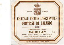 PAUILLAC 2E GCC ETIQUETTE CHATEAU  PICHON LONGUEVILLE COMTESSE 1980   §21/12/16§
