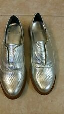 BCBGENERATION silver genuine leather oxford loafers shoes 6