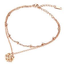 Edelstahl ROSE Fußkettchen Damen Fußkette Roségold Blume Geschenk Fuß Schmuck