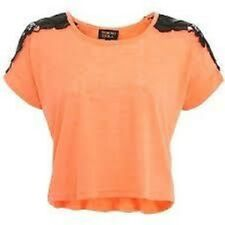 Tokyo Doll Orange and Black Lace Crop Jumper Ladies Size Medium Box456 O