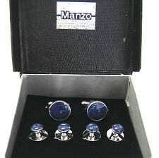 New Men's Rhodium Cufflinks & Studs Set Royal Blue Resin Formal Tuxudo Wedding