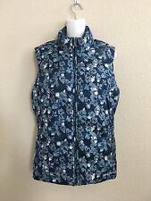 WOMEN'S EDDIE BAUER PREMIUM GOOSE DOWN BLUE FLORAL PACKABLE PUFFY VEST SZ:XL