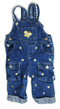 Girls Kids Clothes Denim Blue BUTTERFLY Overall Pants Jeans 6-9 Months