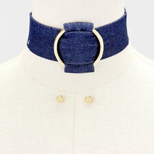 "12""  gold pendant denim blue jean choker collar necklace earrings 1.50"" wide 18"