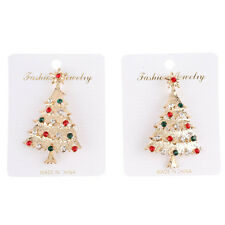 5pcs New Multi-Color Rhinestone Christmas Tree Safety Pin Brooch Gold Plated D