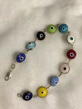 """.925 Sterling Silver Multi Color All Seeing Eye Bracelet - 7.5""""- Free Shipping!!"""