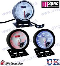 D1 SPEC TURBO BOOST GAUGE 60mm WHITE Dial JDM IMPREZA WRX STI SUPRA MR2 EVO 7 8