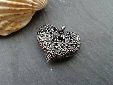 Antique Silver Flower Hollow Heart Pendants 10pcs Steampunk Kitsch charm Vintage