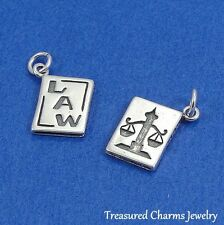 .925 Sterling Silver LAW BOOK CHARM Scales of Justice Law Degree Lawyer PENDANT