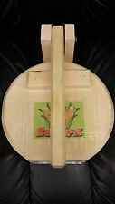 "Round Wood 7"" Manual Flower Corn Wooden Tortilla Maker Press Gorditas Bunuelos"