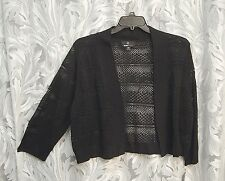 BLACK OPEN FRONT/WEAVE CROCHET CARDIGAN JACKET SWEATER BOLERO SHRUG TOP~2X**