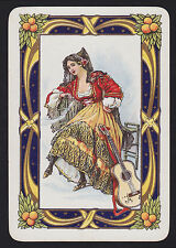 1 Single VINTAGE Playing/Swap Card OLD WIDE SPANISH LADY GUITAR & GOLD Smooth