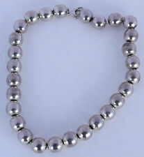 "Fine vintage sterling silver large round bead necklace, choker, heavy 17"" long"
