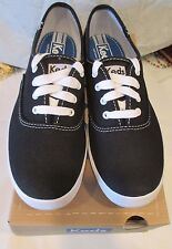 WOMEN'S KEDS CHAMPION BLACK CANVAS SNEAKERS DECK SHOE WF34100 SIZE 7 NEW IN BOX