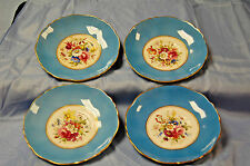 Rare Vintage Hammersley 4 Saucers: Blue Band, Floral Center, Gold Scallop  S3646