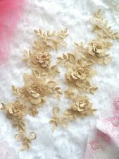 """DIY 3D Lace Appliques Gold Beige Floral Embroidered Mirror Pair 10.5"""" (DH65)"""