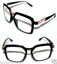 Men's Vintage 643 Oversize XL Glasses Matte Black Gold Frame Retro Clear lens