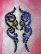 GB350 Sequin Appliques Blue Gold Metallic Scroll Mirror Pair Iron On Patch 7""