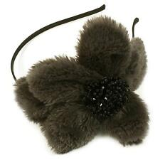 Big Fuzzy Flower Bow Sequins Satin Headband Head Piece Fascinator Cocktail Gray